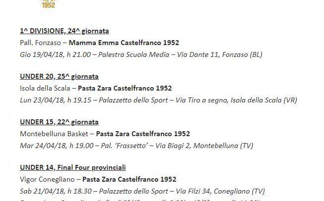 Giovedì sera il Mamma Emma va a Fonzaso, nel weekend le Final Four U14!