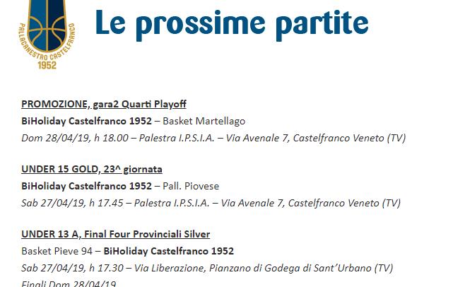 Domenica gara2 di playoff di Promozione al Palavenale, da sabato l'U13 alle Final Four