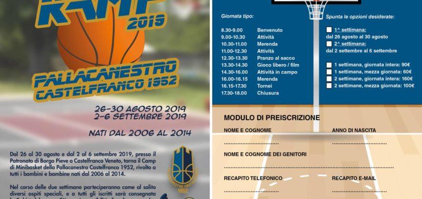 Iscrizioni aperte per il Camp Minibasket di fine agosto e inizio settembre