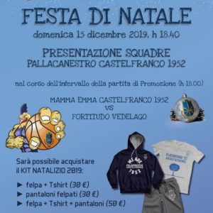 Domenica 15 dicembre la Festa di Natale al Palavenale per la Pallacanestro Castelfranco 1952