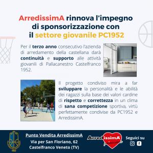 ArredissimA rinnova l'impegno di sponsorizzazione con il settore giovanile PC1952